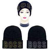 48 Units of Knit hat BOSS with rhinestone - Winter Beanie Hats