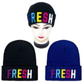 48 Units of Knit hat FRESH embroidery