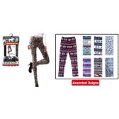 48 Units of Furlined fleece leggings assorted design S/M L/XL mix