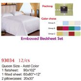 12 Units of Embossed bed sheet set/Queen - Comforters & Bed Sets
