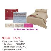 12 Units of Embroidery bed sheet set/King