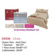 12 Units of Embroidery bed sheet set/Queen - Bedding Sets