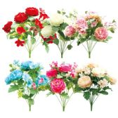72 Units of Twelve Head Flower Assorted Color - Artificial Flowers