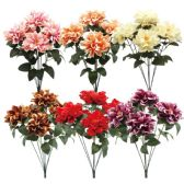 24 Units of Seven Head Silk Flower Assorted Colors - Artificial Flowers