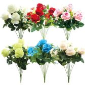 24 Units of Twelve Head Flower Assorted Colors - Artificial Flowers