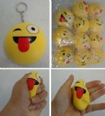 36 Units of Slow Rising Squishy Toy Key Chain *Yellow Emoji