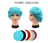 60 Units of Winter Knit Beret With Flower Assorted Colors - Winter Hats