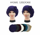 36 Units of Winter Heavy Knit Beret With Flower Assorted Colors - Winter Beanie Hats