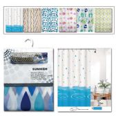 "24 Units of Shower curtain set 71x71""/assorted Design"
