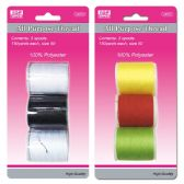 96 Units of 3 Piece thread assorted Colors - SEWING THREAD