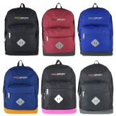 """24 Units of 17"""" Sport Backpacks In 6 Solid Colors - Case of 24"""