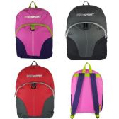"24 Units of 17"" Sport Backpacks In 3 Colors - Case of 24 - Backpacks 17"""