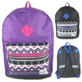 "24 Units of 17"" Backpacks In Purple and Black Colors - Case of 24 - Backpacks 17"""