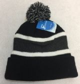 60 Units of Double-Layer Knitted Hat with PomPom [Black/Dark Gray] - Winter Beanie Hats