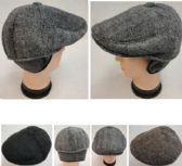 24 Units of Warm Ivy Cap with Ear Flaps[Herringbone] Button Top - Fedoras, Driver Caps & Visor