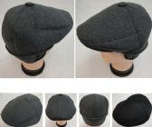 24 Units of Warm Ivy Cap with Ear Flaps [Wool-Like Solid Color] Button Top - Fedoras, Driver Caps & Visor