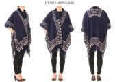 24 Units of Ladies Poncho in Navy Blue - Winter Pashminas and Ponchos