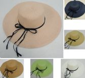 48 Units of Ladies Woven Summer Hat w Navy Shoestring Ribbon