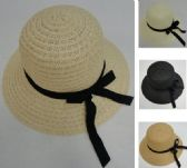 48 Units of Ladies Round Woven Summer Hat w Long Ribbon
