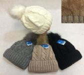 24 Units of Ladies Knitted Hat with Fur PomPom Sherpa Lined - Winter Beanie Hats