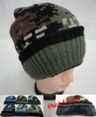 24 Units of Knitted Winter Hat [Assorted Camo] *Plush Lining