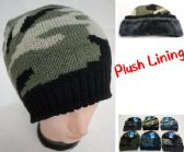 36 Units of Knitted Winter Beanie [Assorted Camo] *Plush Lining