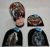 48 Units of Knitted Beanie [Tiger/Horse/Wolf]