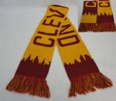 24 Units of Knitted Scarf with Fringe [CLEVELAND Skyline] Wine/Gold
