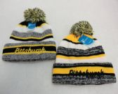 24 Units of Knitted Hat with PomPom Embroidered PITTSBURGH Stripes - Winter Beanie Hats