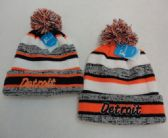 24 Units of Knitted Hat with PomPom [Embroidered DETROIT] Stripes - Winter Beanie Hats