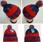 24 Units of Knitted Hat with PomPom [ CLEVELAND -NR] City Skyline - Winter Beanie Hats