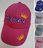 48 Units of Girl's Embroidered Ball Cap [Princess]