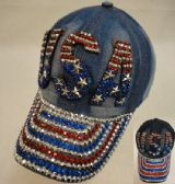 18 Units of Denim Hat with Bling [USA] Red/White/Blue