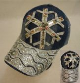 18 Units of Denim Hat with Bling [Snowflake] Colored Gems
