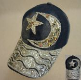 18 Units of Denim Hat with Bling [Moon & Star] Colored Gems