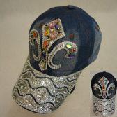18 Units of Denim Hat with Bling [Fleur de Lis] Colored Gems