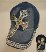 18 Units of Denim Hat with Bling [Cross] Colored Gems - Hats With Sayings