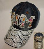 18 Units of Denim Hat with Bling [Baseball MOM] Colored Gems