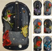 18 Units of Denim Hat with Bling [Applique Assortment]