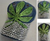 24 Units of Denim Hat with Bling *Silver [Green Leaf]