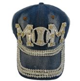24 Units of Denim Hat with Bling *Silver [Baseball MOM]