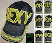 18 Units of Denim Hat with Bling *Glow in the Dark Assortment