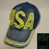 18 Units of Denim Hat with Bling *Glow in the Dark [USA]