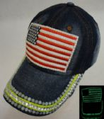 18 Units of Denim Hat with Bling *Glow in the Dark [Flag]
