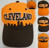 b1248458262 BESTSELLER 48 Units of CLEVELAND Skyline Hat  Orange Brown  - Baseball Caps    Snap