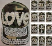 24 Units of Camo Hat with Bling/Pearls [Assortment]