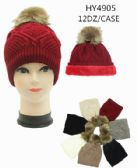 24 Units of Ladies Winter Hat With Faux Fur Lining Assorted Color