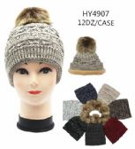 24 Units of Woman's Winter Hat With Faux Fur Lining Assorted Color