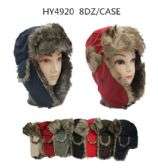24 Units of Faux Fur Unisex Trapper Hat Assorted Color