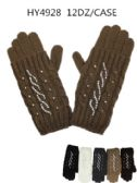 24 Units of Woman's Design Winter Gloves Assorted Color